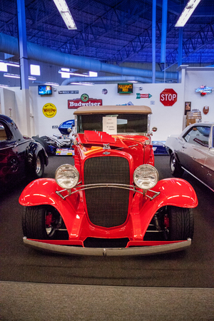 Punta Gorda, Florida, USA – October 13, 2019: Red 1932 Chevrolet Landau Phaeton displayed at the Muscle Car City museum. Editorial Use