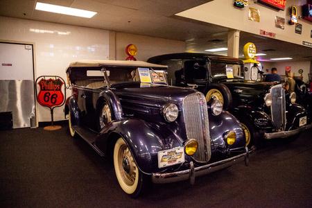 Punta Gorda, Florida, USA – October 13, 2019: Dark Blue 1936 Chevrolet Phaeton displayed at the Muscle Car City museum. Editorial Use Editorial