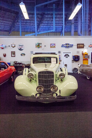 Punta Gorda, Florida, USA – October 13, 2019: Celery Stalk Green 1935 Cadillac displayed at the Muscle Car City museum. Editorial Use