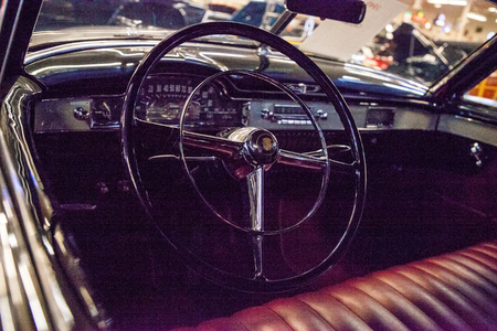 Punta Gorda, Florida, USA – October 13, 2019: Tan 1949 Cadillac displayed at the Muscle Car City museum. Editorial Use