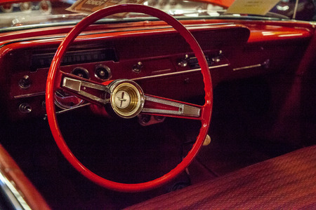 Punta Gorda, Florida, USA – October 13, 2019: Red 1962 Chevrolet Bel Air displayed at the Muscle Car City museum. Editorial Use