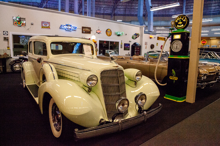 Punta Gorda, Florida, USA – October 13, 2019: Celery Stalk Green 1935 Cadillac displayed at the Muscle Car City museum. Editorial Use