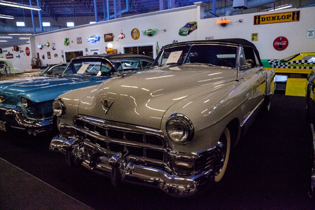 Punta Gorda, Florida, USA – October 13, 2019: Tan 1949 Cadillac displayed at the Muscle Car City museum. Editorial Use Editorial