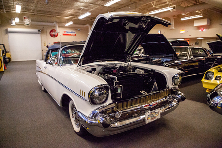 Punta Gorda, Florida, USA – October 13, 2019: White 1971 Chevrolet Bel Air displayed at the Muscle Car City museum. Editorial Use Editorial