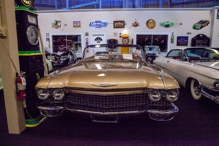 Punta Gorda, Florida, USA – October 13, 2019: Gold 1960 Cadillac Eldorado Biarritz displayed at the Muscle Car City museum. Editorial Use Stock Photo - 132991855
