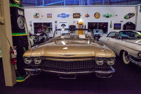 Punta Gorda, Florida, USA – October 13, 2019: Gold 1960 Cadillac Eldorado Biarritz displayed at the Muscle Car City museum. Editorial Use Editorial