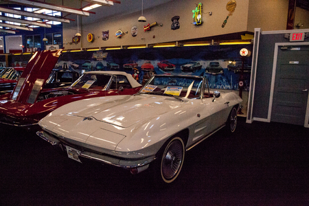 Punta Gorda, Florida, USA – October 13, 2019: White 1964 Chevrolet Corvette original displayed at the Muscle Car City museum. Editorial Use