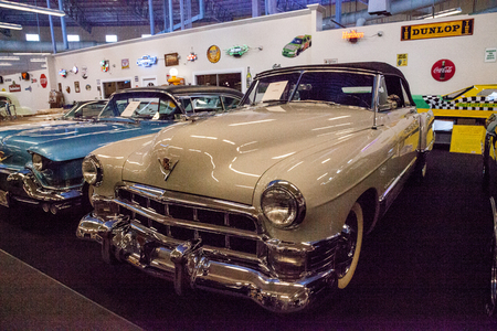 Punta Gorda, Florida, USA – October 13, 2019: Tan 1949 Cadillac displayed at the Muscle Car City museum. Editorial Use