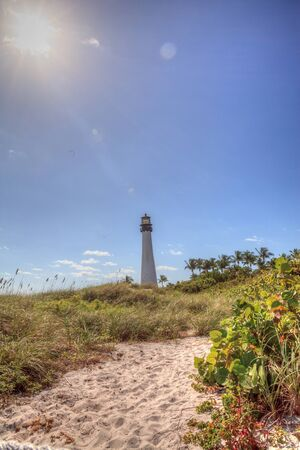 Cape Florida Lighthouse at Bill Baggs Cape Florida State Park at Key Biscayne in Miami, Florida.