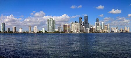 View of the city of Miami over the ocean on the way onto Key Biscayne in Miami, Florida.