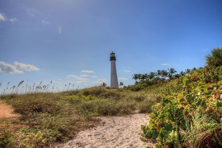 Cape Florida Lighthouse at Bill Baggs Cape Florida State Park at Key Biscayne in Miami, Florida. 스톡 콘텐츠