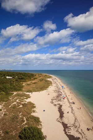 Aerial view of Bill Baggs Cape Florida State Park at Key Biscayne in Miami, Florida.