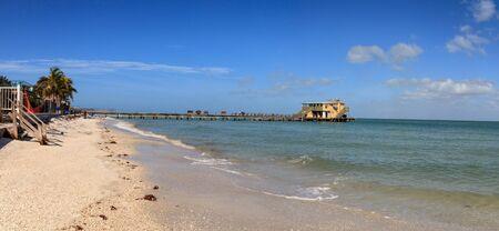 Anna Maria Island, Florida – January 10, 2020: Rod and Reel Pier boardwalk on the island of Anna Maria, Florida.