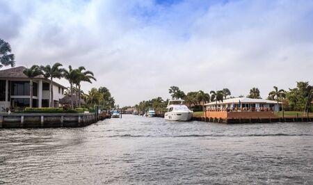 Hillsboro Inlet Waterway headed to Hillsboro Beach in Pompano Beach, Florida.