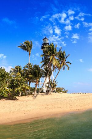Hillsboro Inlet, Florida – January 12, 2020: Hillsboro Lighthouse along the shore of Hillsboro Beach in Pompano Beach, Florida.