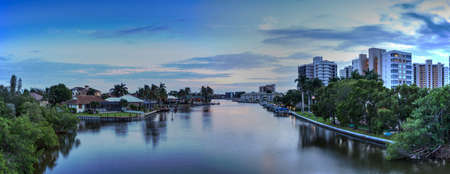 Sunset over Wiggins Pass in Naples, Florida. Stockfoto