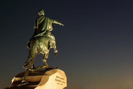 Famous statue of Peter the First, Saint-Petersburg's founder