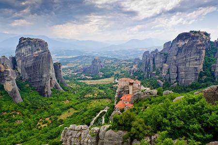 Rousanou  세인트의 거룩한 수도원. 바바라. 메테오라, 그리스입니다. 스톡 콘텐츠