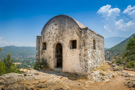 kayakoy: Small ancient stone church in Kayakoy ghost town, Turkey