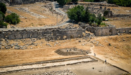 paleontologist: Archaeological works in Kayakoy ancient city in Turkey