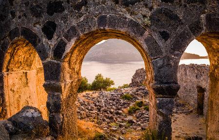 hemispherical: St. Nicholas on sunset. Gemiler Island, Fethiye