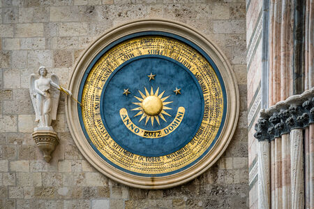 Ancient eternal cathedral calendar and clock in Messina. Sicily Standard-Bild