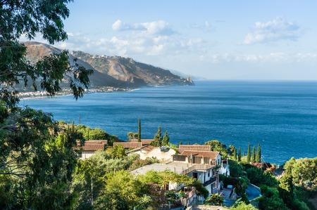 Taormina wonderful view of seaside. Sicily, Italy landscape. photo
