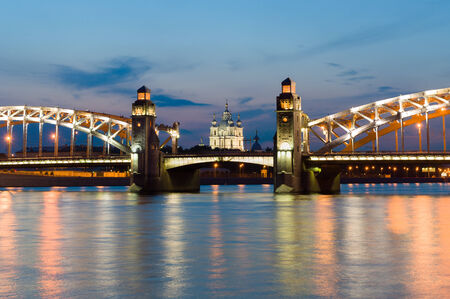 piter: Piter the First bridge and Smolniy cathedral in white night.  Saint-Petersburg, Russia