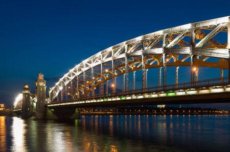 piter: Piter the First bridge on Neva River in white night.  Saint-Petersburg, Russia Stock Photo