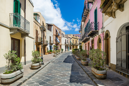 Lipari colorful old town streets. Italy touristic places.