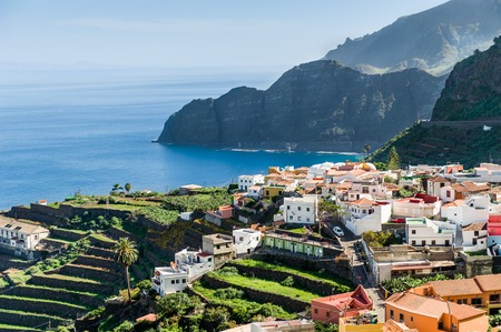 canarian: Village at Atlantic ocean. La Gomera island. Canary islands. Stock Photo