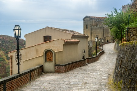 the godfather: Savoca old town. City of Godfather film. Sicily, Italy