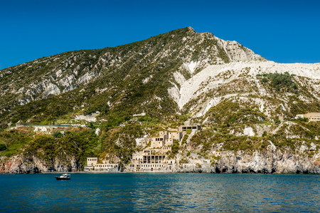 lipari: Lipari island and ancient fortifications view from cruise sailing boat Stock Photo
