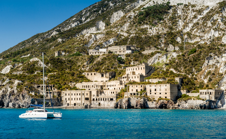 vulcano: Lipari island and ancient fortifications view from cruise sailing boat Stock Photo