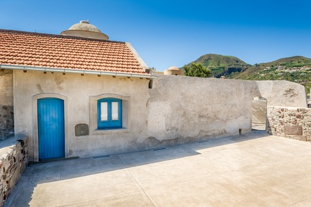 eolian islands: Lipari island traditional house. Sicily summer travel.