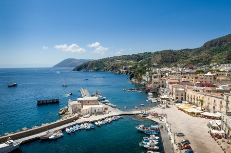 eolian islands: Lipari island yacht marina landscape. Sicily, Italy Stock Photo