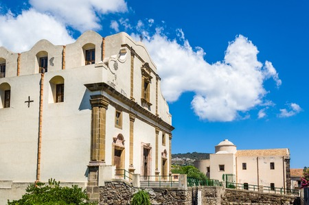 eolian islands: Ancient church in Lipari old town center. Archaeological diggings.