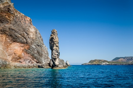 eolian islands: Eolian islands famous Guard Rock view from boat Stock Photo