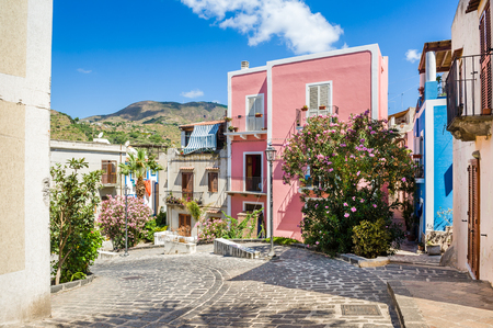 lipari: Lipari colorful old town streets. Sicily, Italy touristic places.