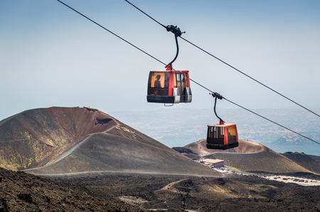 Funivia del Etna cable railway to Etna volcano. Sicily, Italy Stock Photo