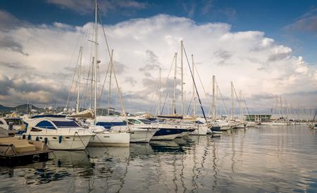 Yacht marina San-Antonio pier. Eivissa, Balearic islands, Spain photo