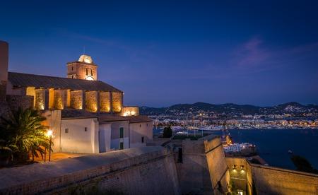 Castillo Almudaina in Dart Vila fortress. Santa Maria d\' Eivissa cathedral. Stock Photo