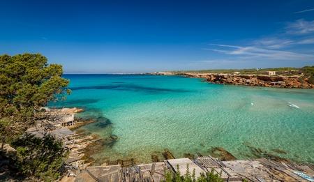 Cala Saona 파라다이스 비치 Formentera 섬. 발레 아레스 제도, 스페인 스톡 콘텐츠