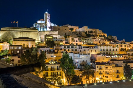 Old town Ibiza on the hill. Houses, fortress and cathedral night scene. Eivissa island, Spain. Stock Photo - 33290339
