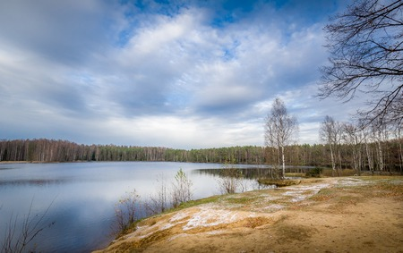 leningradskaya: Beautiful and cold october day at Russian forest lake Stock Photo