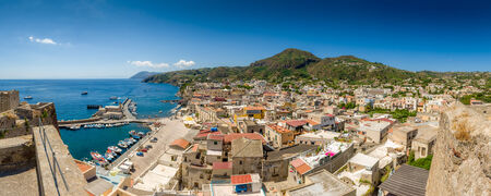 eolian islands: Lipari island and city high definition panorama landscape