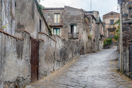 Ancient stone homes and streets of old town Forsa d\'Agro. Sicily, Italy