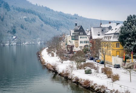 Winter view of Traben-Trarbach village and Mosel river in Germany