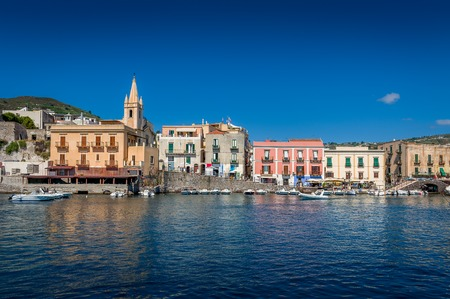 lipari: Lipari embankment with colorful traditional houses. Sicily, Italy Stock Photo