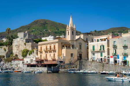 Lipari embankment with colorful traditional houses. Sicily, Italy